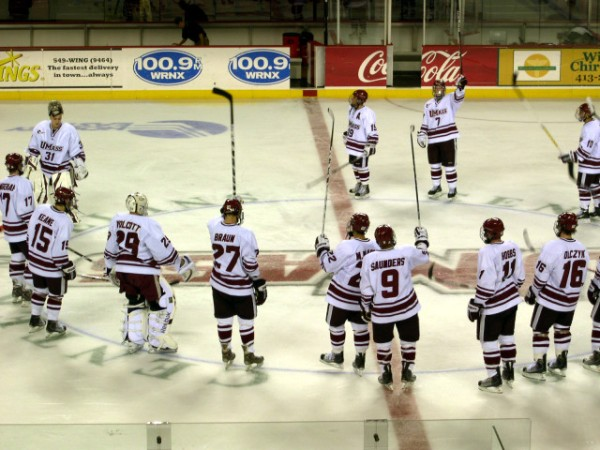 UMass salutes the crowd following RPI.